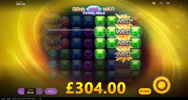 Gems Gone Wild Power Reels :: Multiple winning combinations leads to a big win