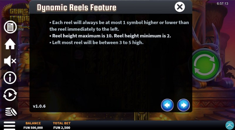 Gems of Egypt Connecta Ways :: Dynamic Reels Feature
