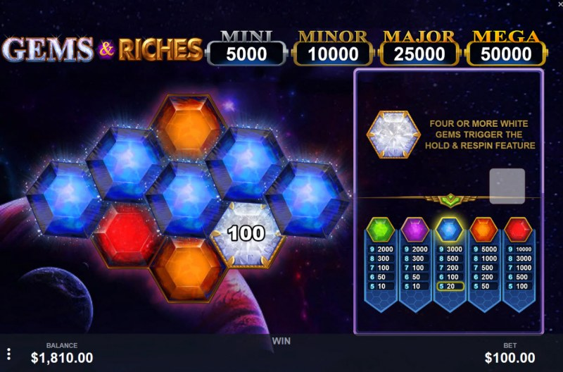 Gems & Riches :: Match five of the same symbol to win