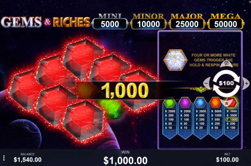 Gems & Riches :: Multiple winning combinations leads to a big win