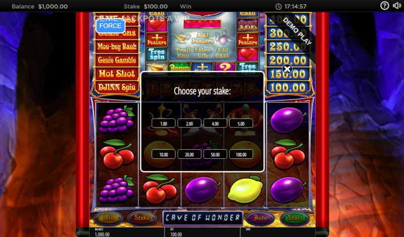 Genie Jackpots Cave of Wonders :: Available Betting Options