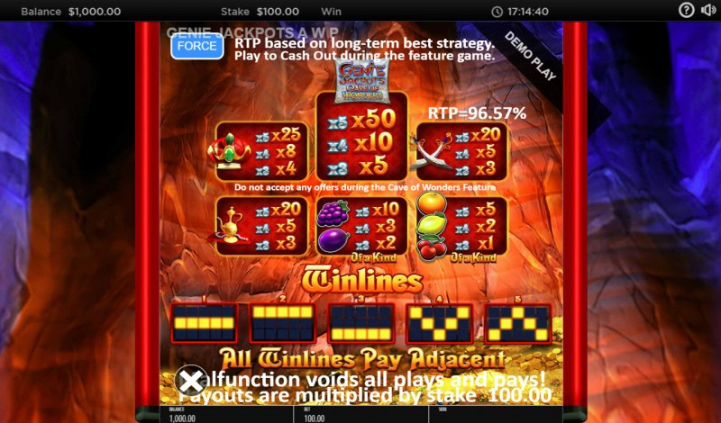 Genie Jackpots Cave of Wonders :: Paytable