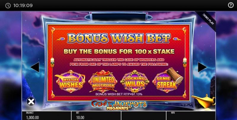 Genie Jackpots Megaways :: Bonus Wish Bet