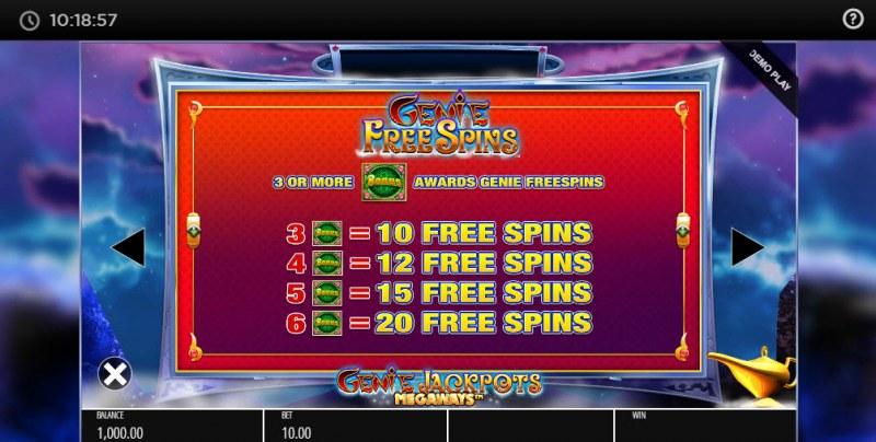 Genie Jackpots Megaways :: Free Spins Rules