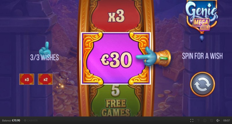 Genie Mega Reels :: Spin the Wheel 3 times to win cash, multipliers or free games