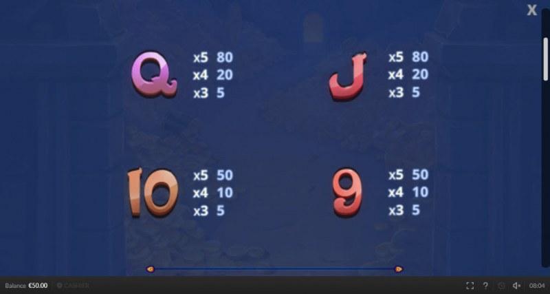 Genie Mega Reels :: Paytable - Low Value Symbols