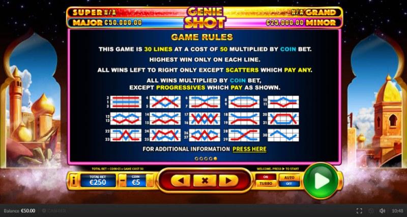 Genie Shot :: General Game Rules