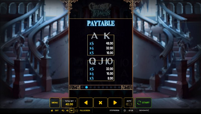 Ghostly Towers :: Paytable - Low Value Symbols