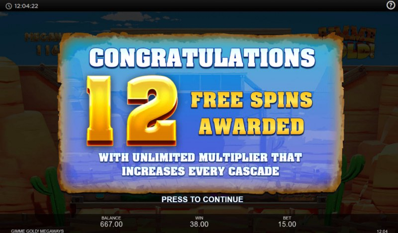 Gimme Gold Megaways :: 12 free spins awarded