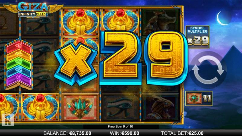 Giza Infinity Reels :: X29 win multiplier awarded