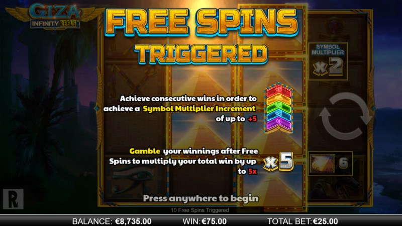 Giza Infinity Reels :: 10 free spins awarded