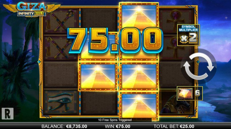 Giza Infinity Reels :: Scatter symbols triggers the free spins bonus feature