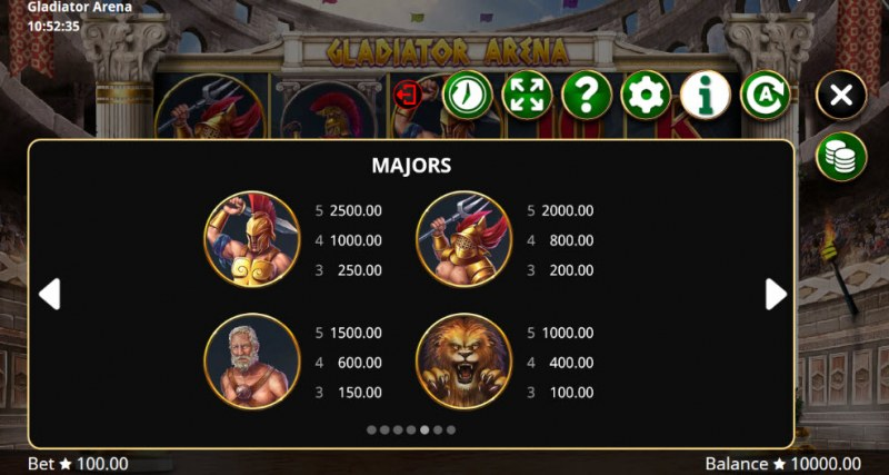 Gladiator Arena :: Paytable - High Value Symbols