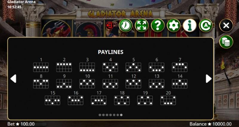 Gladiator Arena :: Paylines 1-20
