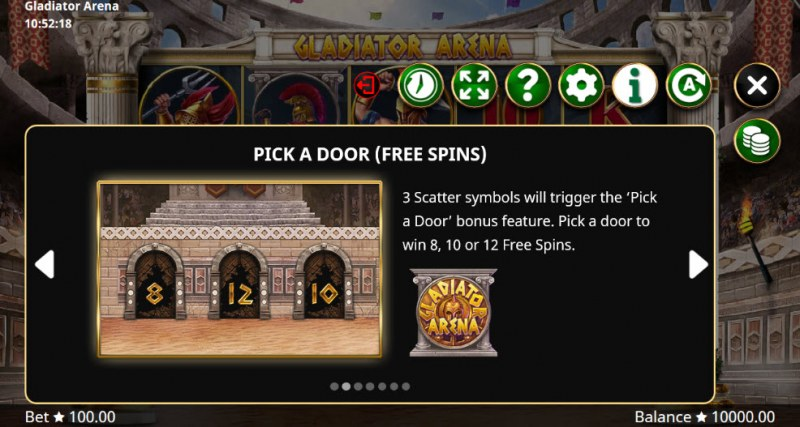 Gladiator Arena :: Pick A Door Free Spins