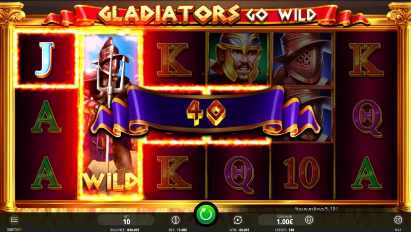 Gladiator's Go Wild :: Respin leads to a winning 3 of a kind