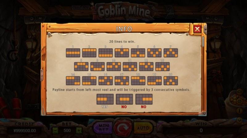 Goblin Mine :: Paylines 1-20