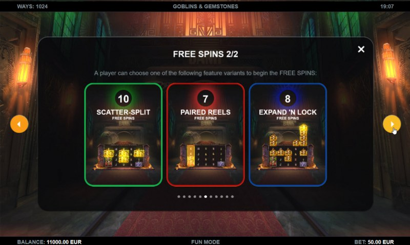 Goblins & Gemstones :: Free Spin Feature Rules