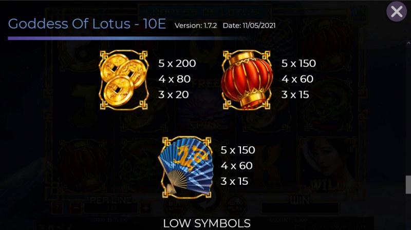 Goddess of Lotus :: Paytable - Medium Value Symbols