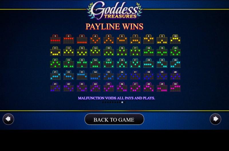Goddess Treasures :: Paylines 1-50