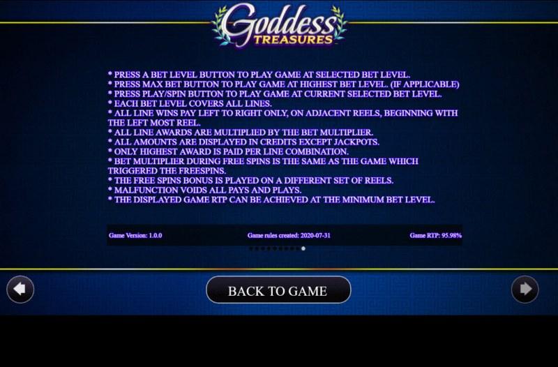 Goddess Treasures :: General Game Rules