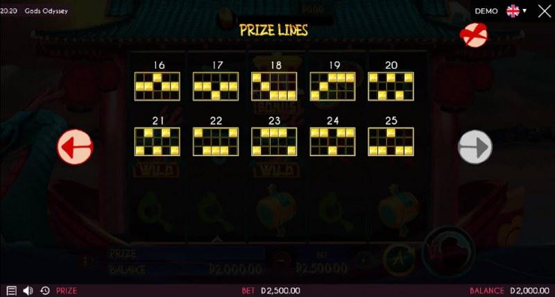 Gods Odyssey :: Prize Lines 16-25