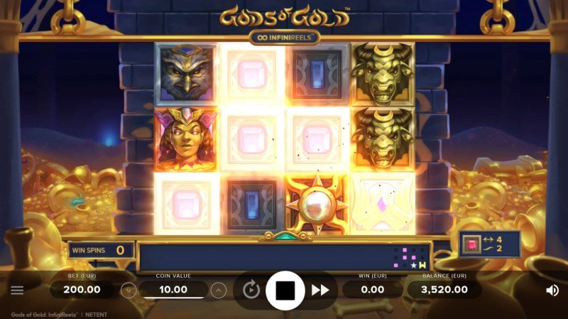Gods of Gold :: An additional reel is added with each matching symbol win
