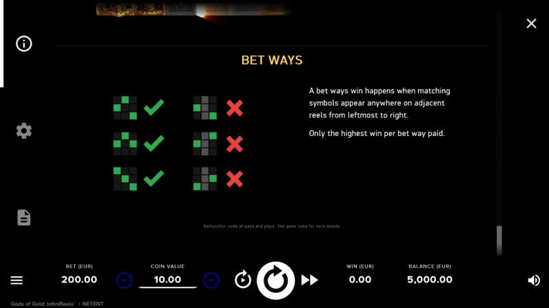 Gods of Gold :: Bet Ways