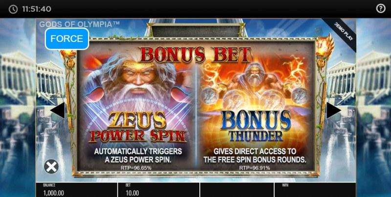 Gods of Olympus Megaways :: Bonus Bet
