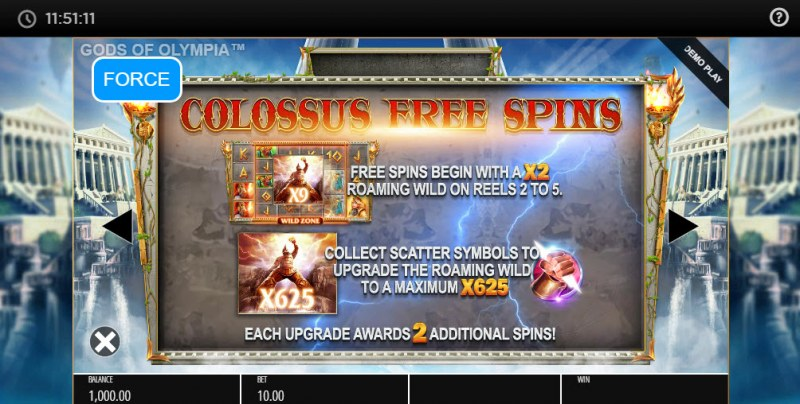 Gods of Olympus Megaways :: Colossus Free Spins