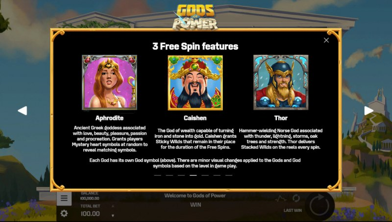 Gods of Power :: Free Spin Feature Rules
