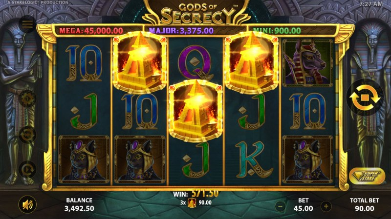 Gods of Secrecy :: Scatter symbols triggers the free spins bonus feature