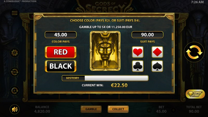 Gods of Secrecy :: Gamble feature is available after every win