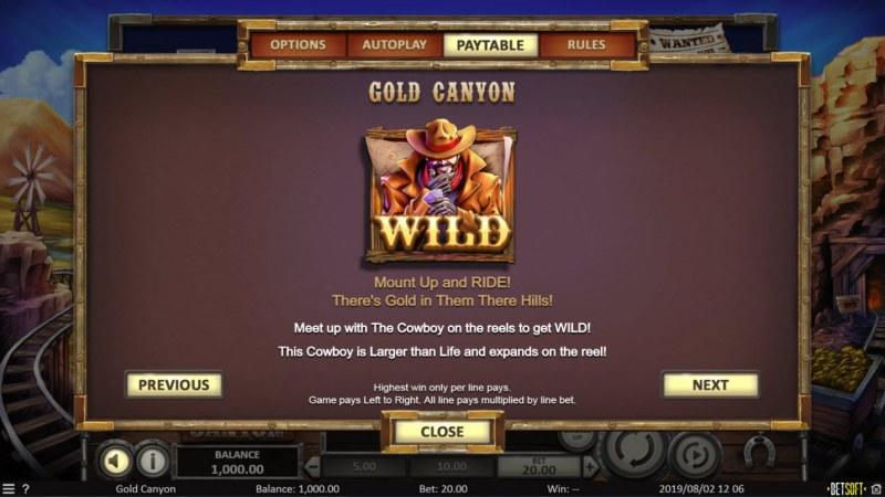 Gold Canyon :: Wild Symbols Rules