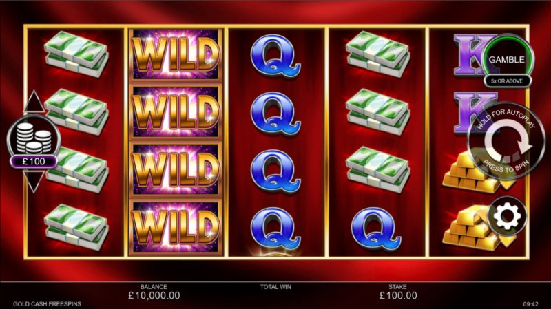 Gold Cash Free Spins :: Base Game Screen