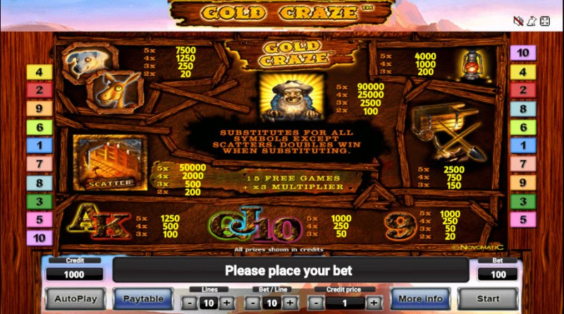 Gold Craze :: Paytable