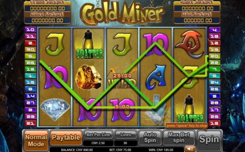 Gold Miner :: Multiple winning paylines