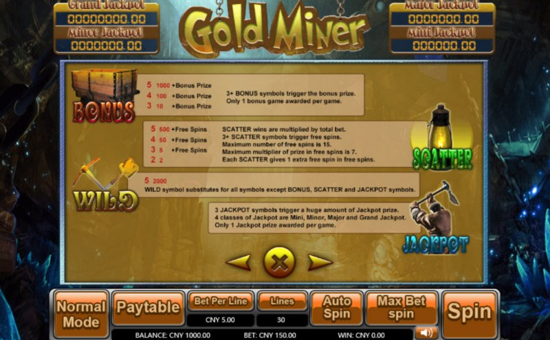 Gold Miner :: Bonus, Jackpot, Scatter and Wild Rules