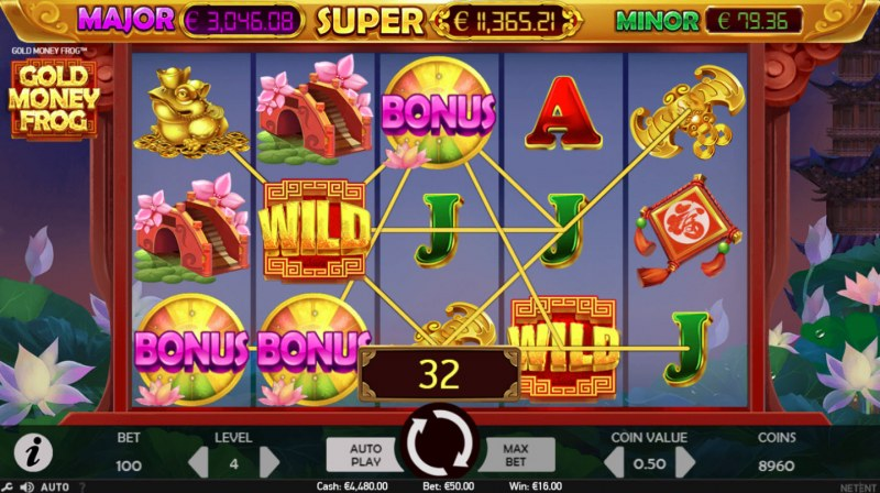 Gold Money Frog :: Scatter symbols triggers bonus feature