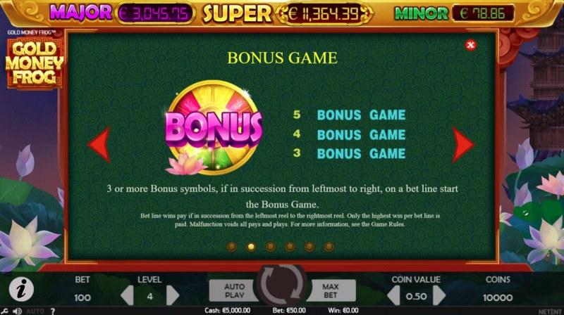 Gold Money Frog :: Bonus Game Rules