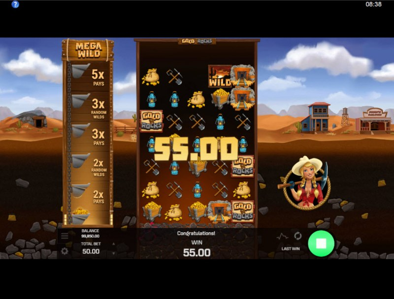 Gold N Rocks :: Reels expand with each winning combination