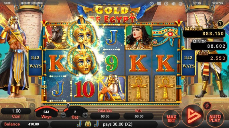 Gold of Egypt :: A three of a kind win