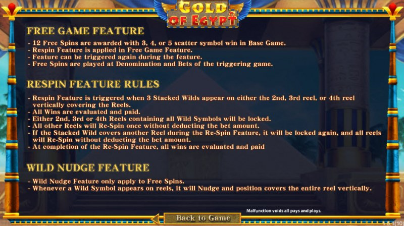 Gold of Egypt :: Free Spins Rules