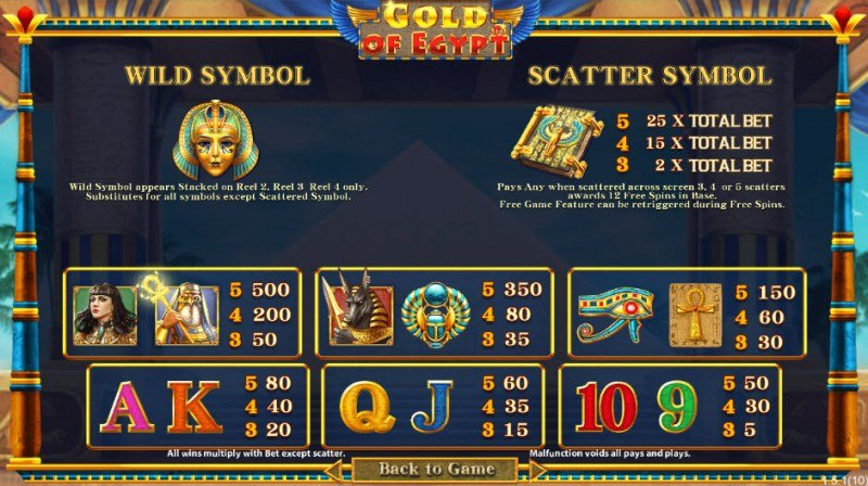 Gold of Egypt :: Paytable