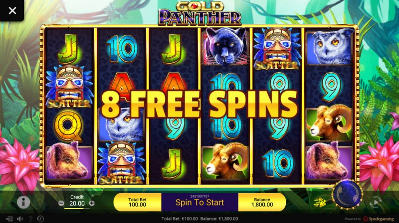 Gold Panther :: Scatter symbols triggers the free spins feature