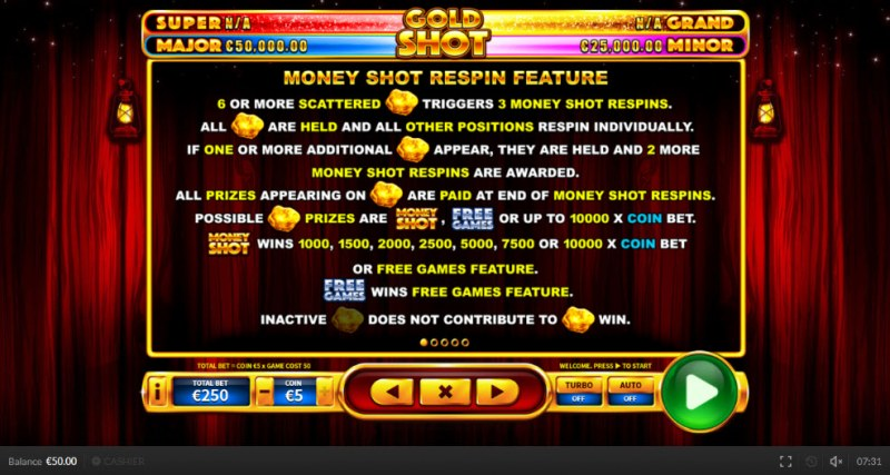 Gold Shot EU :: Money Shot Respin Feature