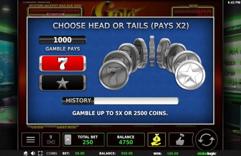 Gold Slam :: Gamble Feature Game Board