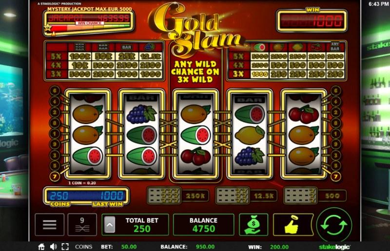 Gold Slam :: Multiple winning paylines