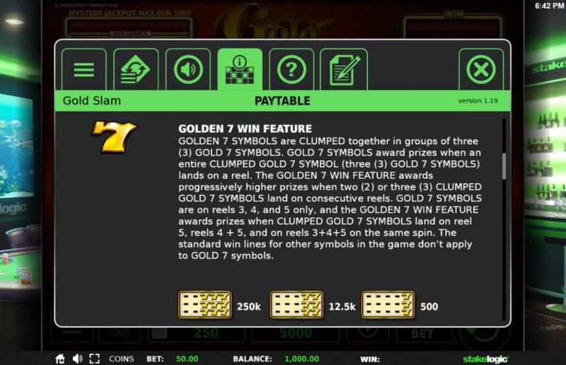 Gold Slam :: Golden 7 Win Feature