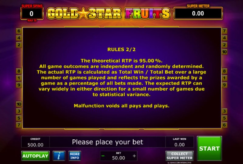 Gold Star Fruits :: General Game Rules